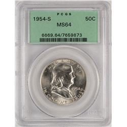 1954-S Franklin Half Dollar Coin PCGS MS64 Old Green Holder