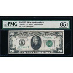 1928 $20 San Francisco Federal Reserve Note PMG 65EPQ