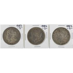 Lot of (3) 1883-S $1 Morgan Silver Dollar Coins