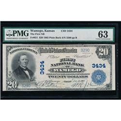 1902 $20 Wamego National Bank Note PMG 63