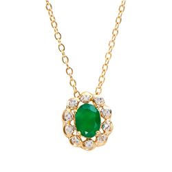 Plated 18KT Yellow Gold 1.00ct Green Agate and Diamond Pendant with Chain