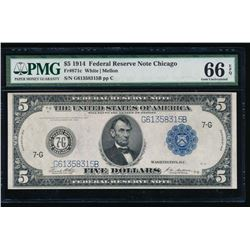 1914 $5 Chicago Federal Reserve Bank Note PMG 66EPQ