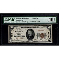 1929 $20 Pomona National Bank Note PMG 40EPQ