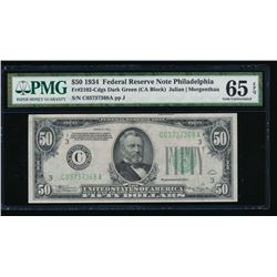 1934 $50 Philadelphia Federal Reserve Note PMG 65EPQ