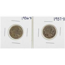 Lot of 1936-D & 1937-D Buffalo Nickel Coins