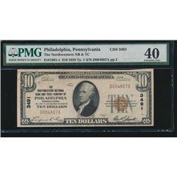 1929 $10 Philadelphia National Bank Note PMG 40