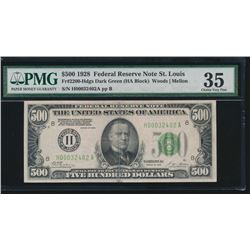 1928 $500 St Louis Federal Reserve Note PMG 35