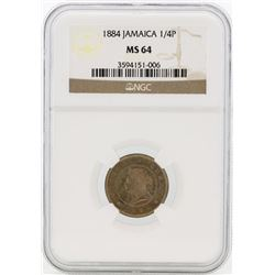 1884 Jamaica 1/4 Penny Coin NGC MS64