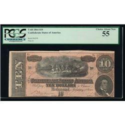 1864 $10 Confederate States of America Note PCGS 55