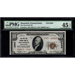 1929 $10 Shamokin National Bank Note PMG 45EPQ