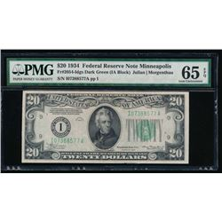 1934 $20 Minneapolis Federal Reserve Note PMG 65EPQ
