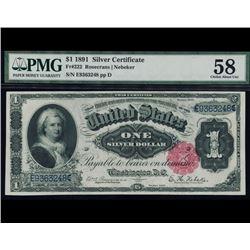 1891 $1 Martha Washington Silver Certificate PMG 58