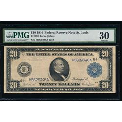 1914 $20 St Louis Federal Reserve Note PMG 30