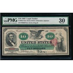1863 $10 Legal Tender Note PMG 30