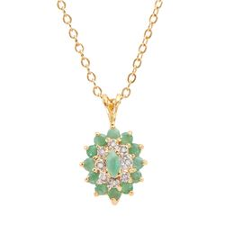 Plated 18KT Yellow Gold 1.00ctw Emerald and Diamond Pendant with Chain