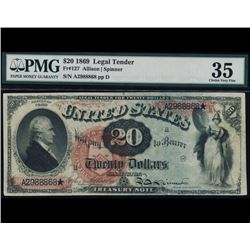 1869 $20 Legal Tender Note PMG 35