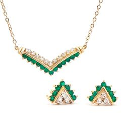 Plated 18KT Yellow Gold 1.00ctw Green Agate and Diamond Pendant with Chain and Earrings