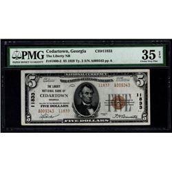 1929 $5 Cedartown National Bank Note PMG 35EPQ