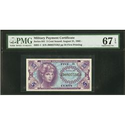 5 Cent Military Payment Certificate PMG 67EPQ
