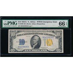 1934A $10 North Africa Silver Certificate PMG 66EPQ