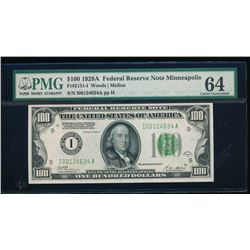 1928A $100 Minneapolis Federal Reserve Note PMG 64