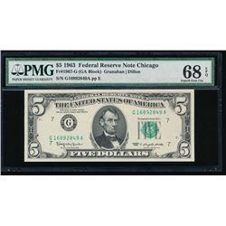 1963 $5 Chicago Federal Reserve Note PMG 68EPQ