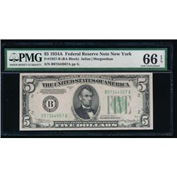 1934A $5 New York Federal Reserve Note PMG 66EPQ