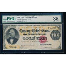 1882 $100 Gold Certificate PMG 35