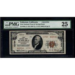 1929 $20 Fullerton National Bank Note PMG 25