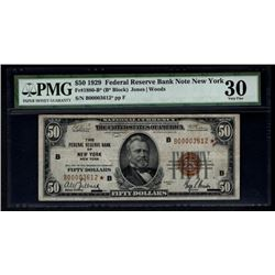1929 $50 New York Federal Reserve Bank STAR Note PMG 30