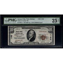 1929 $10 Jersey City National Bank Note PMG 25NET