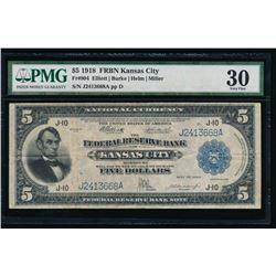 1918 $5 Kansas City Federal Reserve Bank Note PMG 30