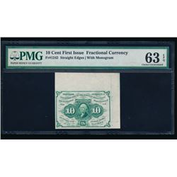 10 Cent First Issue Fractional Note PMG 63EPQ