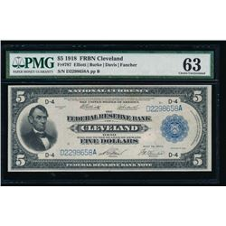 1918 $5 Cleveland Federal Reserve Bank Note 63