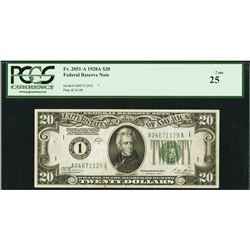 1928A $20 Boston Federal Reserve Note PCGS 25