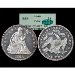 1868 $1 Proof Seated Liberty Silver Dollar Coin PCGS PR62 CAC OGH