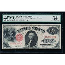 1917 $1 Legal Tender Note PMG 64 Signatures Reversed