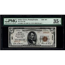 1929 $5 Selins Grove National Bank Note PMG 35EPQ