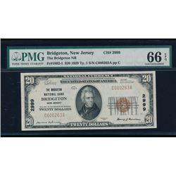 1929 $20 Bridgeton National Bank Note PMG 66EPQ