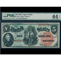 1869 $5 Rainbow Legal Tender PMG 64EPQ