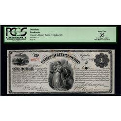1867 $1 Union Military Scrip Topeka Kansas PCGS 35