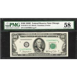 1950E $100 Federal Reserve Note Chicago Fr.2162-G PMG About Uncirculated 58