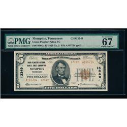 1929 $5 Memphis National Bank Note PMG 67EPQ