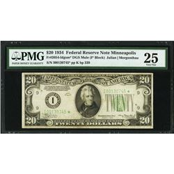 1934 $20 Minneapolis Federal Reserve STAR Note PMG 25