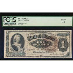 1886 $1 Martha Washington Silver Certificate PCGS 30
