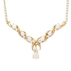 Plated 18KT Yellow Gold 2.00ctw Opal and White Topaz Pendant with Chain