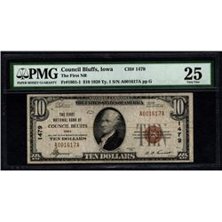 1929 $10 Council National Bank Note PMG 25