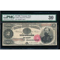 1890 $2 Treasury Note PMG 30