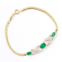 Plated 18KT Yellow Gold 1.80ctw Green Agate and Diamond Bracelet