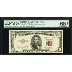 1953A $5 Legal Tender STAR Note PMG 65EPQ